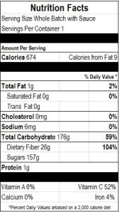 Apple filling nutrition facts for the ENTIRE batch.