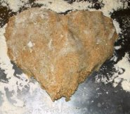 Heart-shaped dough.