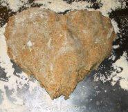 Heart-shaped dough.