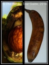 Enzymatic browning in an avocado and a banana.