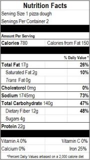Nutrition Facts for an entire Whole Wheat Pizza Dough, based on the USDA Nutrient Database.