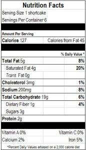 Shortcake Nutrition Facts