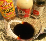 Mix the maple syrup, apple cider vinegar, and half of the reduced sodium soy sauce.