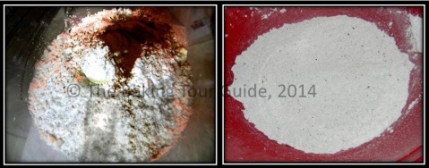 Flour mixture before (left) and after (right) grinding.