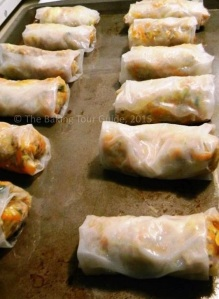 Spring rolls before baking.