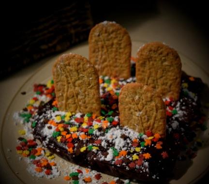Breakfast biscuit tombstones for a Halloween graveyard cake